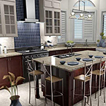 Detailed 3D rendering of kitchen